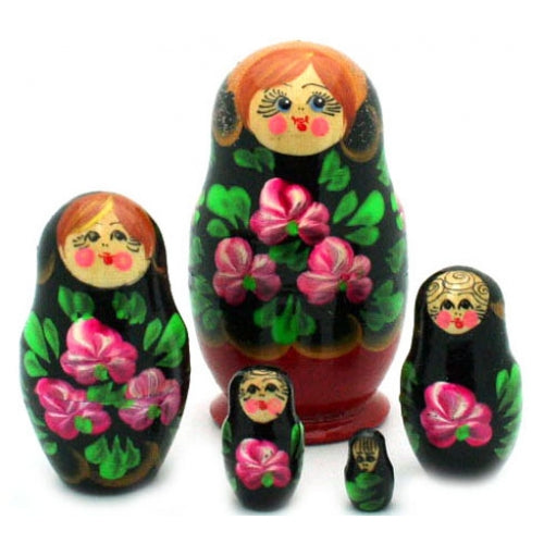 Small Nesting Doll with Pink Flowers