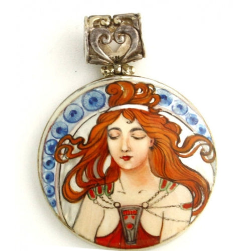 buyrussiangifts-store - Small Silver Pendant Inspired by Music from Art Series Alphonse Mucha - BuyRussianGifts Store - MOTHER OF PEARL HAND PAINTED JEWELRY