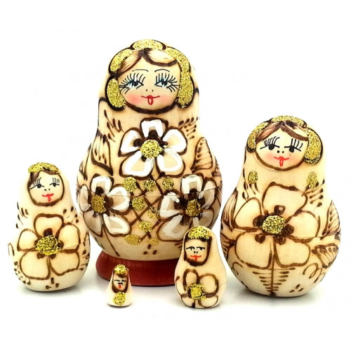 buyrussiangifts-store - Small Wood-Burned Matryoshka Set - BuyRussianGifts Store - Nesting doll