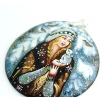 buyrussiangifts-store - Snow Maiden Hand Painted Mother Of Pearl Pendant - BuyRussianGifts Store - MOTHER OF PEARL HAND PAINTED JEWELRY