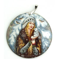 Snow Maiden Hand Painted Mother Of Pearl Pendant