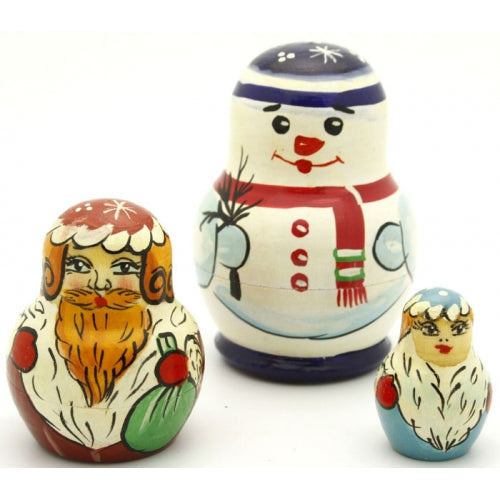 Snowman and Santa 3 Piece Nesting Doll Set