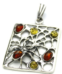 Spider Web Multicolor Amber Sterling Silver Pendant