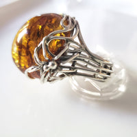 Silver Spider on Web Unique Large Amber Ring