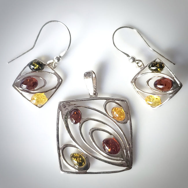 modern square silver amber jewelry set