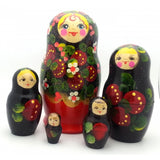 buyrussiangifts-store - Strawberry Bloom Flowers Nesting Set - BuyRussianGifts Store - Nesting doll