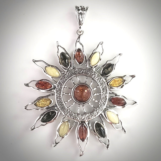 Large Sun silver amber pendant