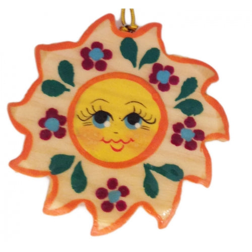 Sun with Flowers Wooden Christmas Ornament