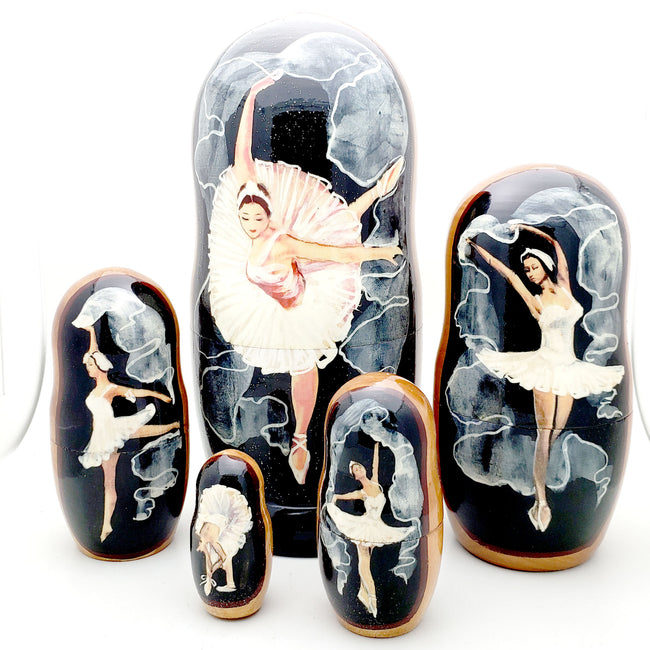 buyrussiangifts-store - Swan Lake Ballet Solo Dancer Nesting Dolls Set - BuyRussianGifts Store - Nesting doll