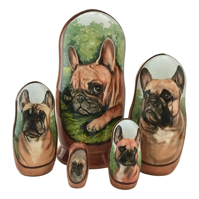 Tan French bulldog nesting dolls