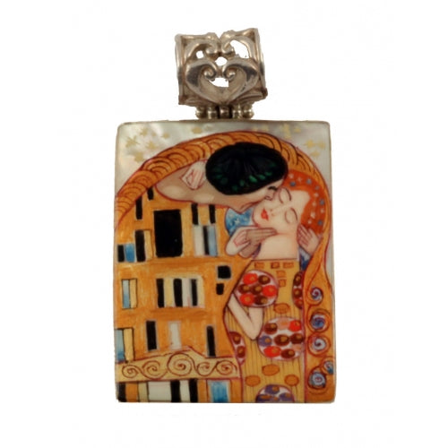 buyrussiangifts-store - The Kiss Hand Painted Rectangle Pendant inspired Klimt - BuyRussianGifts Store - MOTHER OF PEARL HAND PAINTED JEWELRY