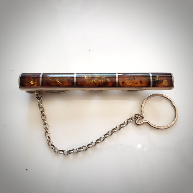 Sterling silver and amber tie clip