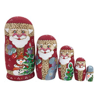 Russian matryoshka Santa dolls