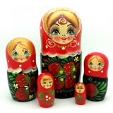 "Traditional Nesting Doll 5 Piece Strawberry Set 5""Tall"