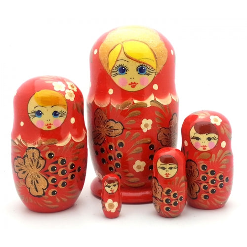 buyrussiangifts-store - Traditional Red with Berry Nesting Doll - BuyRussianGifts Store - Nesting doll