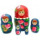 Traditional Blue Red Nesting Doll