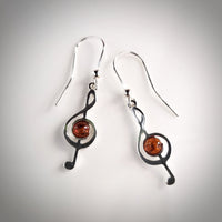 Musical note Treble Clef silver and amber earrings
