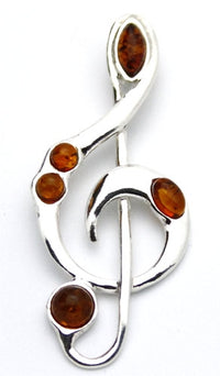 Treble Clef Cognac Amber Sterling Silver Pendant