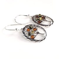 Tree of Life sterling silver with amber earrings