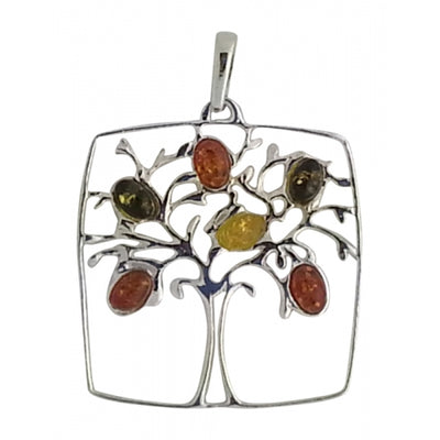 buyrussiangifts-store - Tree of Life Multicolor Amber & Sterling Silver Pendant - BuyRussianGifts Store - Amber Jewelry