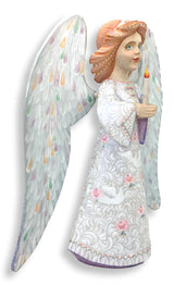 White Christmas angel with roses and doves