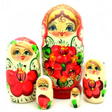"White Nesting Doll with Orange Flowers 5"" Tall"