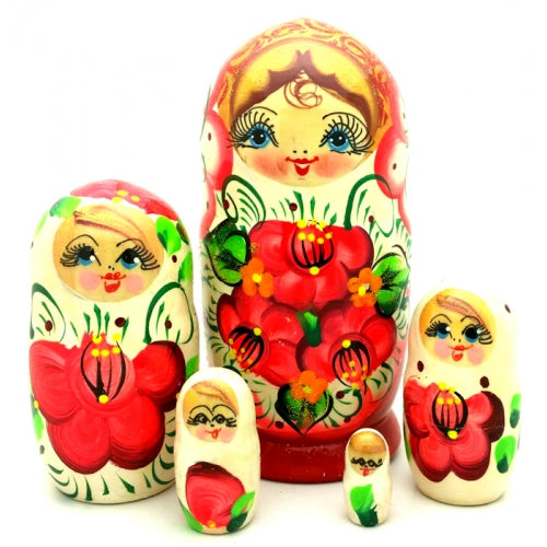 buyrussiangifts-store - White Nesting Doll with Orange Flowers 5