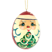 Russian wooden santa ornament