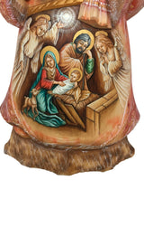 Nativity scene painted on a Russian santa