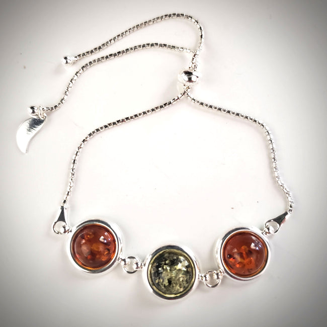 Bolo chain adjustable silver amber bracelet