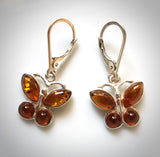 Amber Butterfly Dangle Earrings in Sterling Silver
