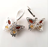 sterling silver earrings with natural amber