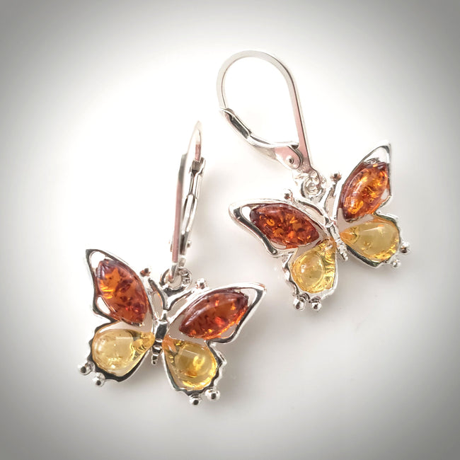 amber butterfly earring in silver