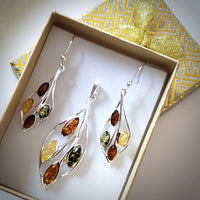 amber earrings pendant earrings jewelry set in gift box