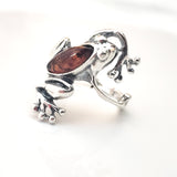 frog ring with amber and silver