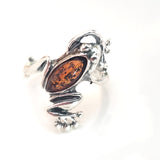 sterling silver frog ring with amber