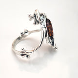 natural amber frog ring in silver