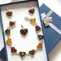 amber heart earrings pendant bracelet jewelry set
