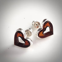 amber heart stud earrings in silver