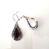 Cherry Amber & Sterling Silver Antique Earrings