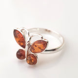 real amber butterfly ring with silver