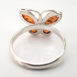 sterling silver butterfly ring with genuine amber