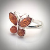Natural baltic amber butterfly ring in sterling silver