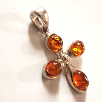 sterling silver Baltic amber cross