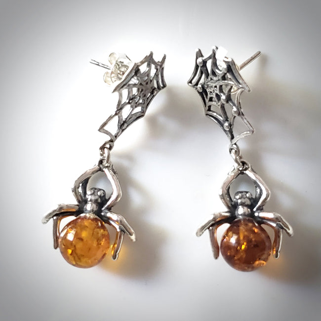 amber spider silver web earrings