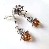 amber spider on silver web earrings