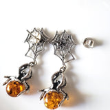 amber spider silver web  post earrings