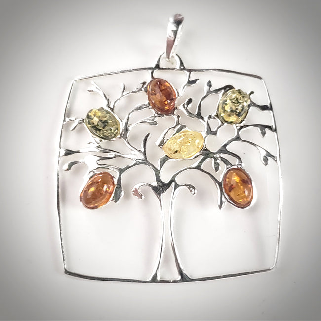 Tree of Life Multicolor Amber & Sterling Silver Pendant