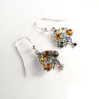 amber tree silver earrings