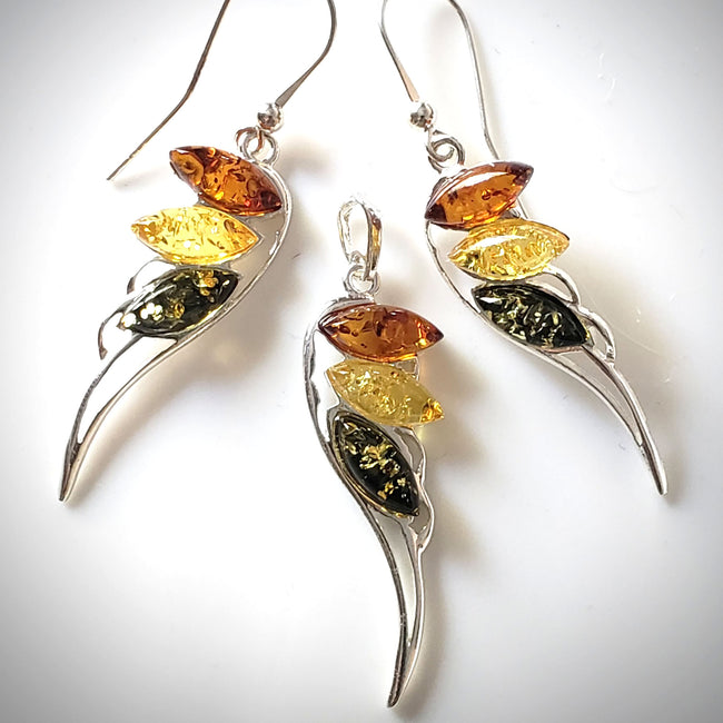 Angel Wings Earrings Pendant Set / Sterling Silver with Amber